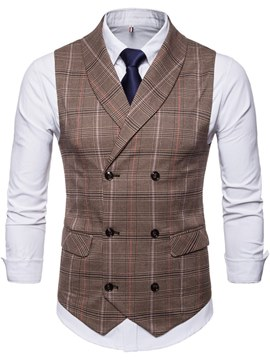 Ericdress Plaid Double Breasted Lapel Mens Casual Dress Vest