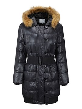 Ericdress Patchwork Fur Collar Zipper Tunic Coat