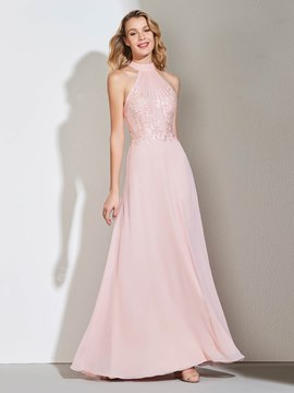 Ericdress A Line Mock Neck Applique Long Prom Dress