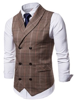 Ericdress Plaid Printed Shirts & Vest Mens Casual Dress Vest