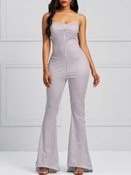 Ericdress Spaghetti Straps Stripe Bellbottoms Women's Jumpsuits