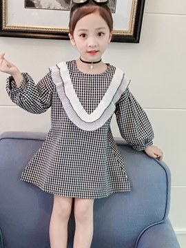 Ericdress Ruffles Plaid Lantern Long Sleeve Girl's Pullover Dress