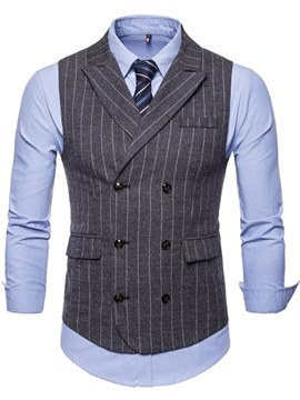 Ericdress Striped Double Breated Lapel Mens Casual Dress Vest