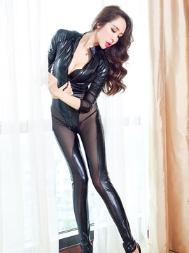 Ericdress Long Sleeve See-Through Zipper Patent Leather Costume