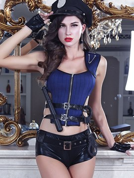 Ericdress Hollow Zipper Short Sexy Military Cop Costume