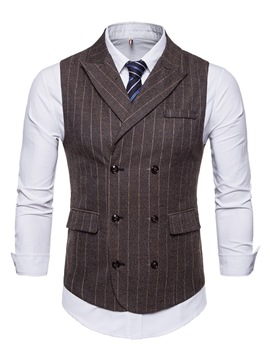 Ericdress Stripped Double-Breasted Vest & Dress Shirts Mens Outfits