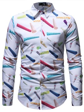 Ericdress Geometric Printed Long Sleeve Button Up Mens Casual Shirts