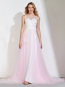 Ericdress A Line Bateau Neck Applique Long Prom Dress
