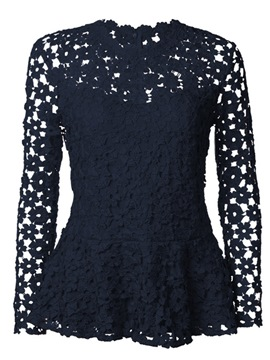 Ericdress Classy Lace Ruffles Tunic Long Sleeves Womens Top