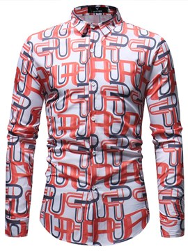 Ericdress Geometric Printed Long Sleeve Mens Button Up Shirts