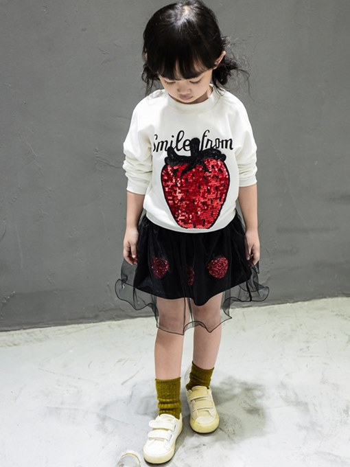 Ericdress Mesh Sequins Printed T Shirts & Skirt Girl's Outfits