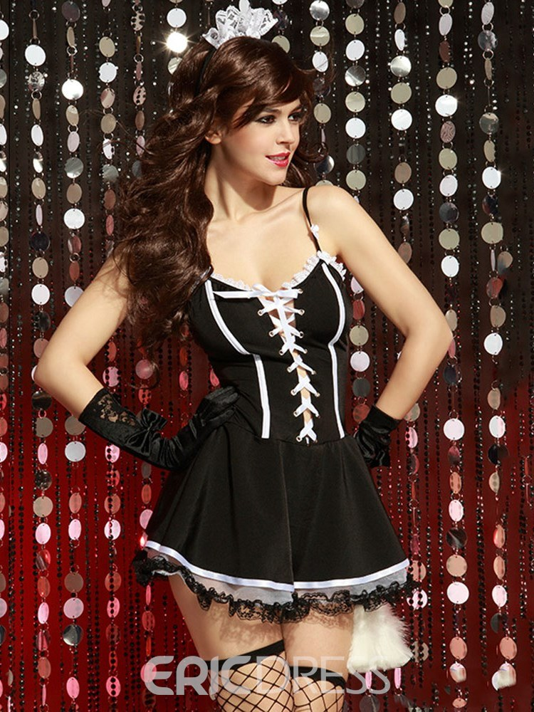 Ericdress Bowknot Tight Wrap Lace-Up Maid Costume