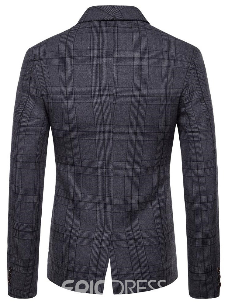 Ericdress Plaid Double-Breasted British Style Mens Casual Blazer