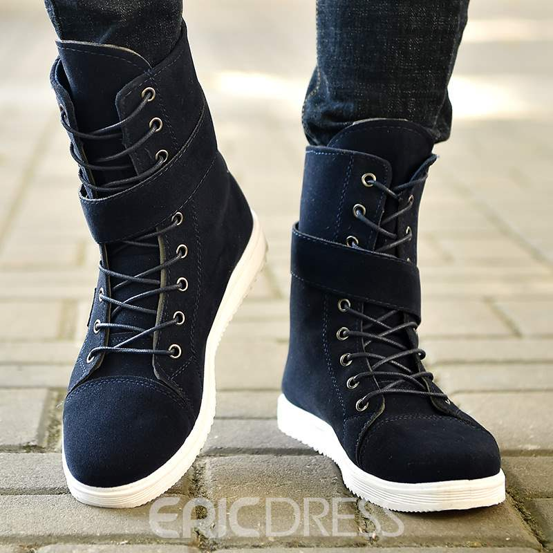 Ericdress Lace-Up Side Zipper Mid-Calf Men's Martin Boots