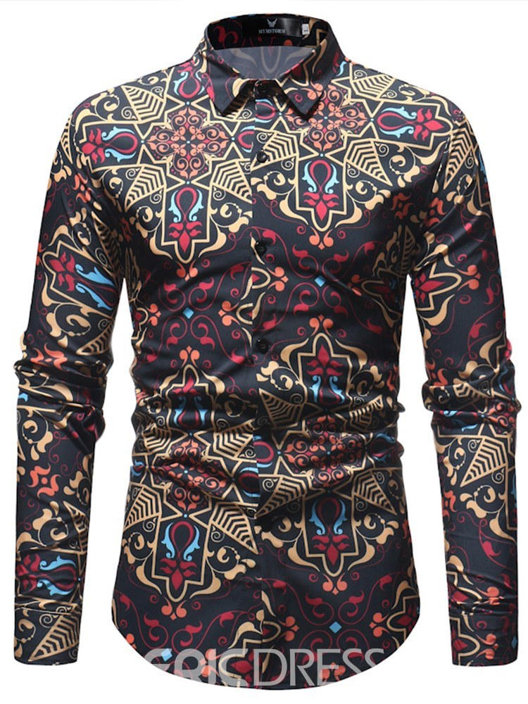 Ericdress Geometric Printed Button Up Mens Casual Fashion Shirts