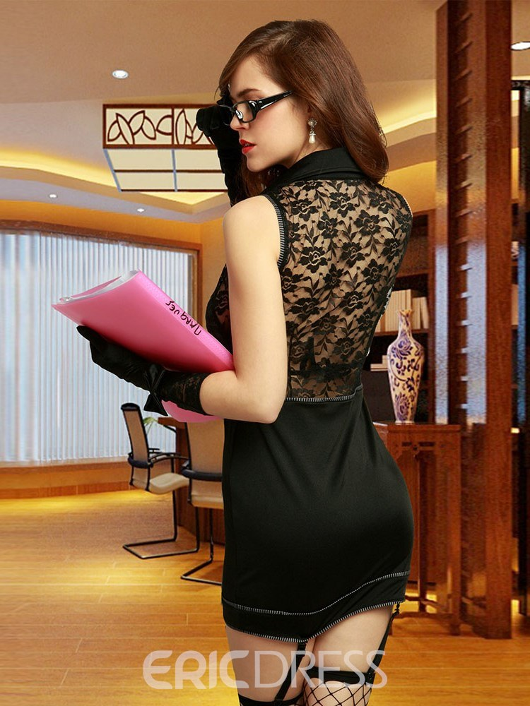 Ericdress See-Through Button Sleeveless Office Ladies Costume