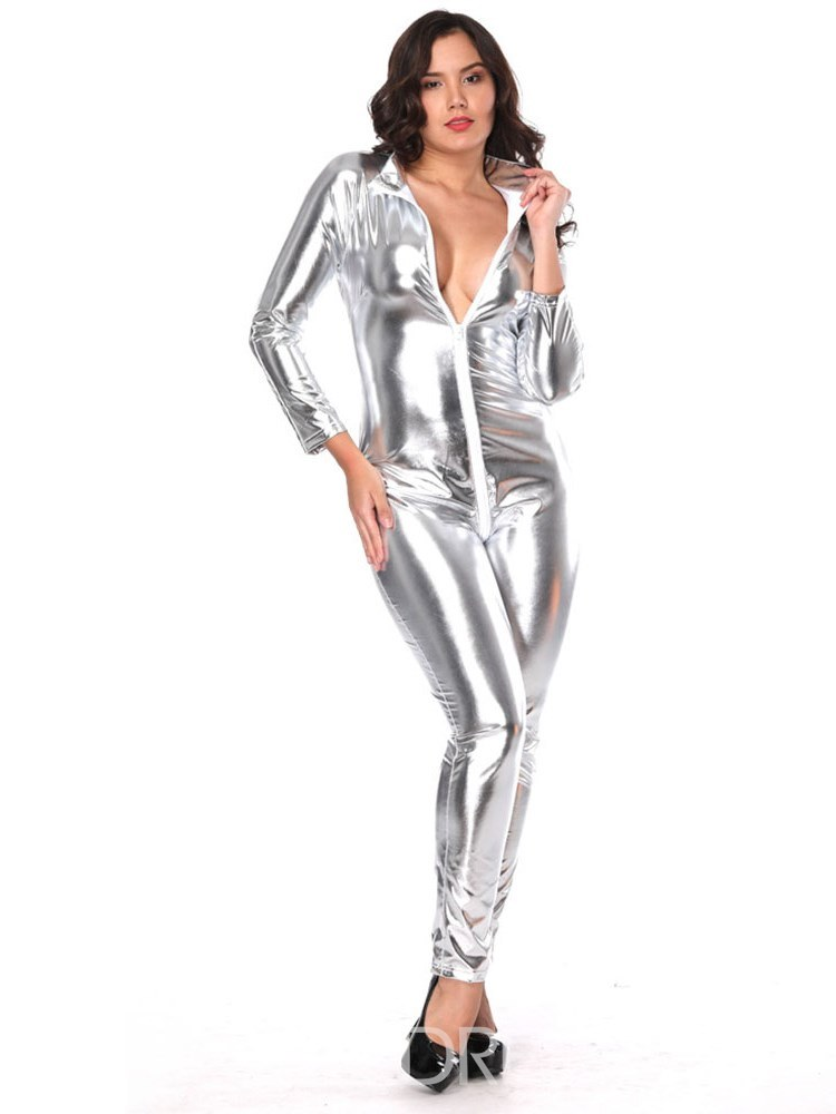 Ericdress Zipper Long Sleeve Onesies Patent Leather Costume