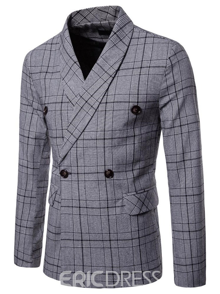 Ericdress Plaid Double-Breasted Mens Casual Blazer
