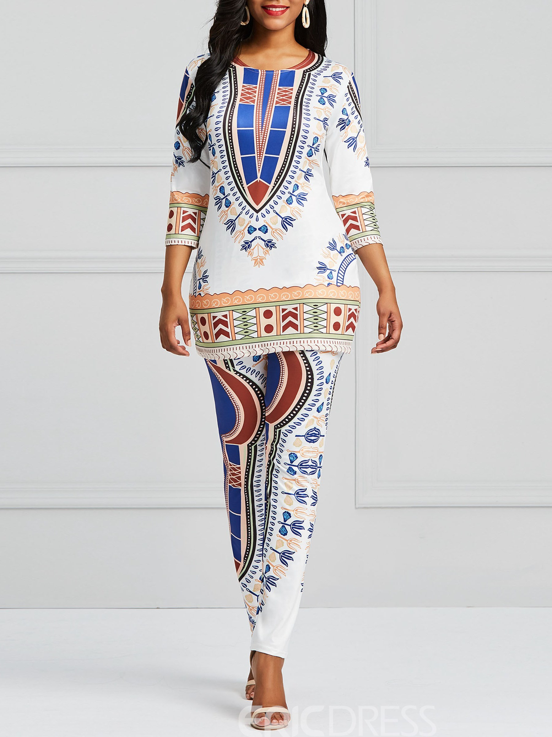 Ericdress Dashiki Print T-Shirt and Pants Women's Two Piece Set