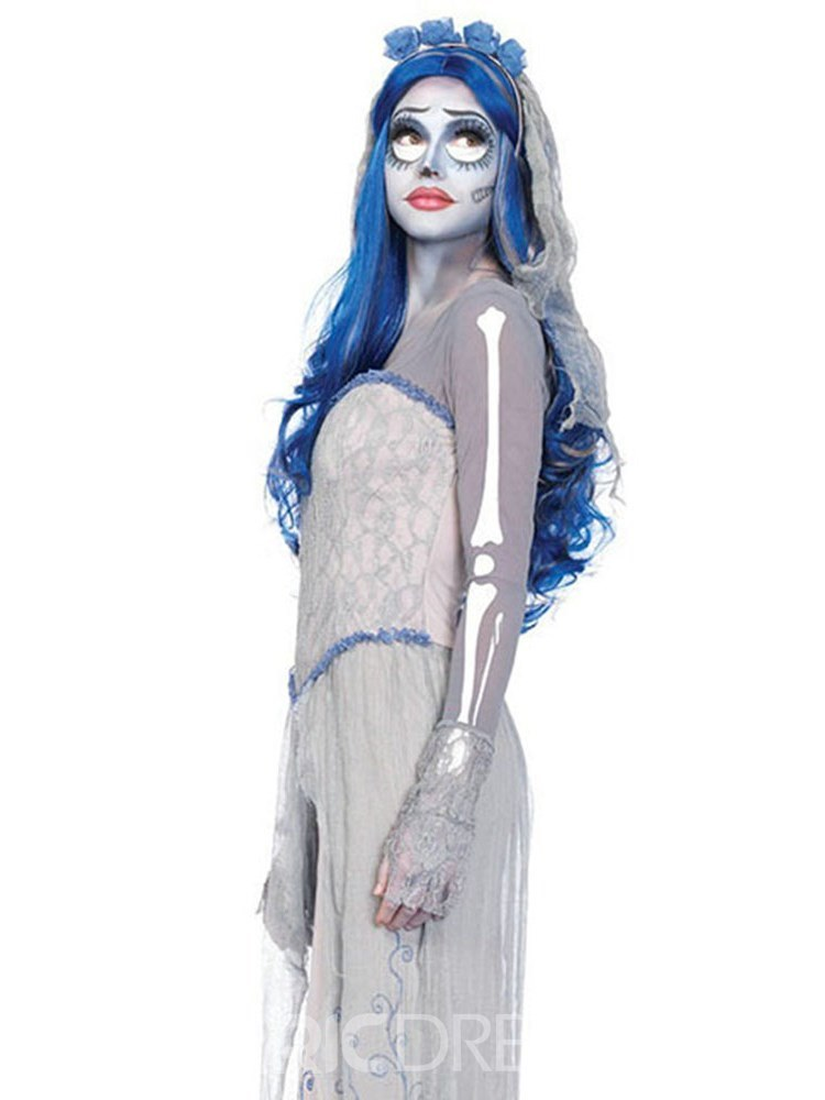 ericdress asymmetric print ghost bride halloween costume