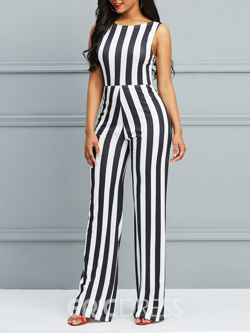 Ericdress Striped Wide Legs Lace-Up Women's Jumpsuit