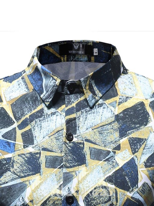 Ericdress Geometric Pattern Printed Fshion Button Up Mens Shirts