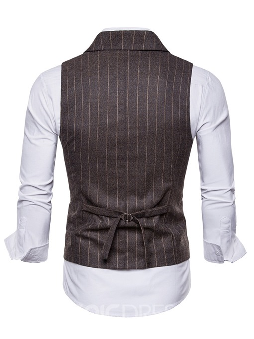 Ericdress Striped Double-Breasted Vest & Dress Shirts Mens Outfits
