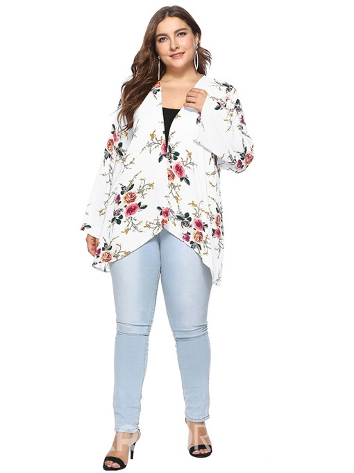 Ericdress Floral Plus Size Flare Sleeve Sweater