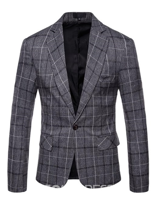 Ericdres Plaid One Button Straight Mens Casual Blazer