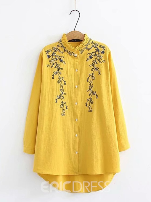 Ericdress Stringy Selvedge Embroidery Plus Size Blouse