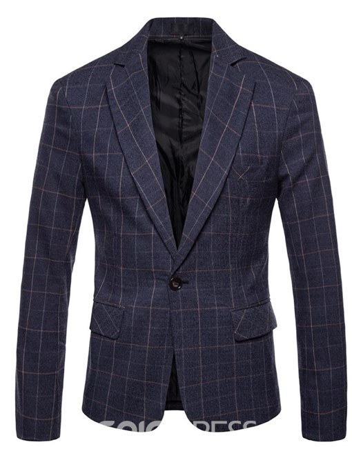 Ericdress Plaid One Button Notched Lapel Mens Casual Blazer Jacket