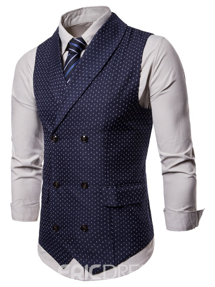Ericdress Polka Dots Printed Double Breasted Mens Casual Dress Vest