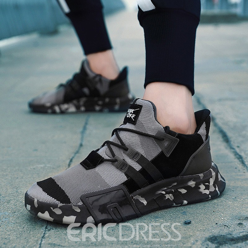 Ericdress Mesh Patchwork Camouflage Lace-Up Men's Sneakers