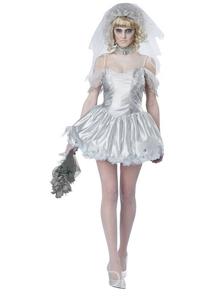 Ericdress Western Asymmetric Mesh Bride Scary Halloween Costume