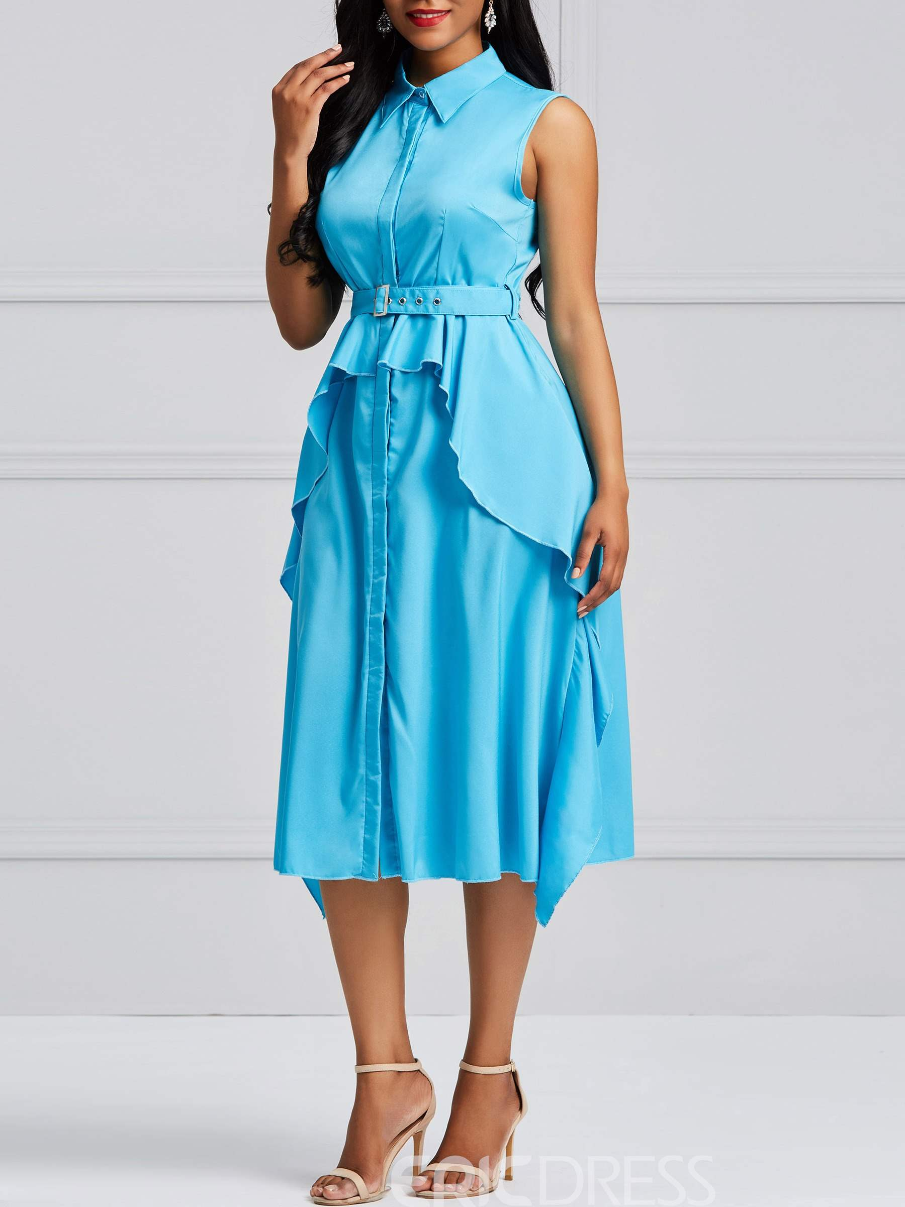 Ericdress A-Line Ruffles Single-Breasted Women's Dress