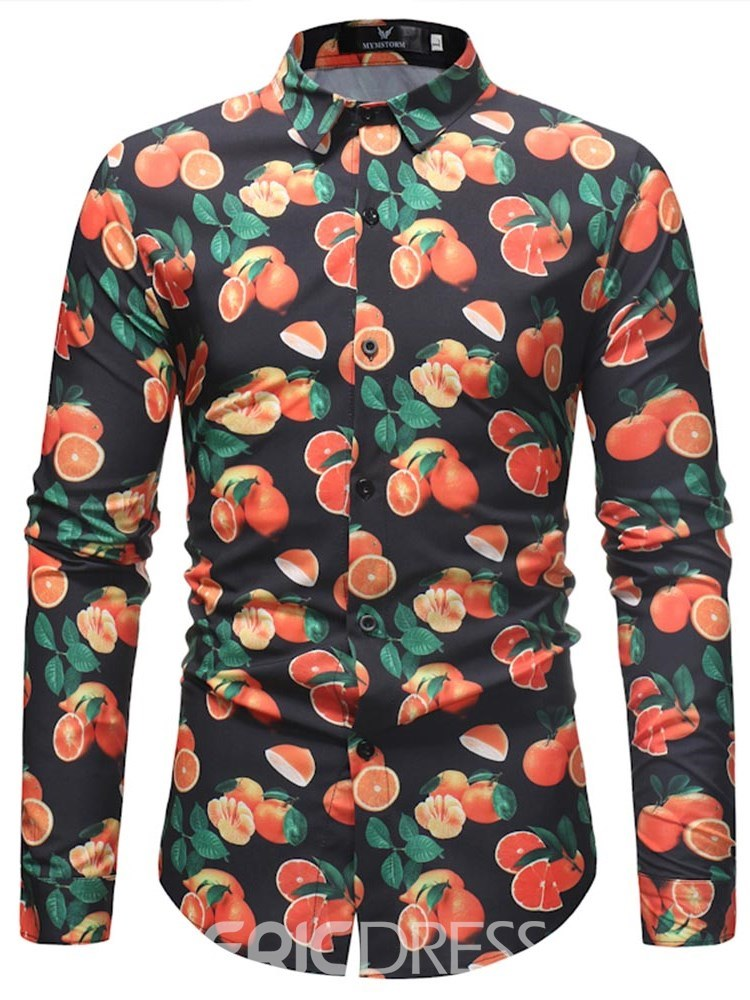 Ericdress Plant Printed Loose Button Up Mens Long Sleeve Shirts
