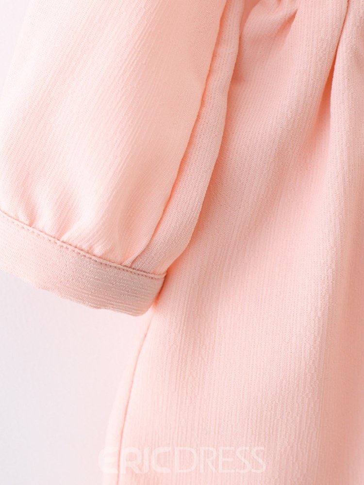 Ericdress Pleated Stringy Selvedge A-Line Plain Girl's Casual Dress