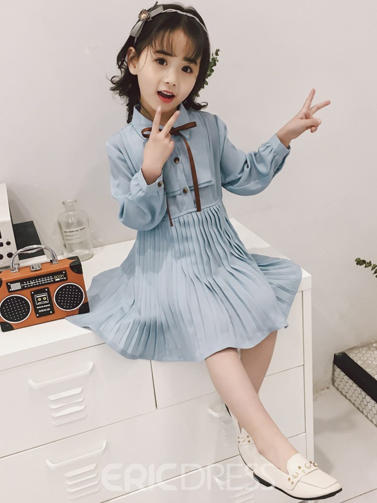 Ericdress Pleated Bowknot Long Sleeve Single Breasted Girl's Dress