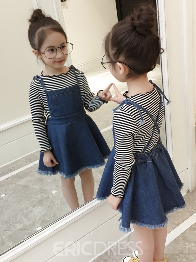 Ericdress Stripped T Shirts & Tassel Denim Dress Girl's Outfits