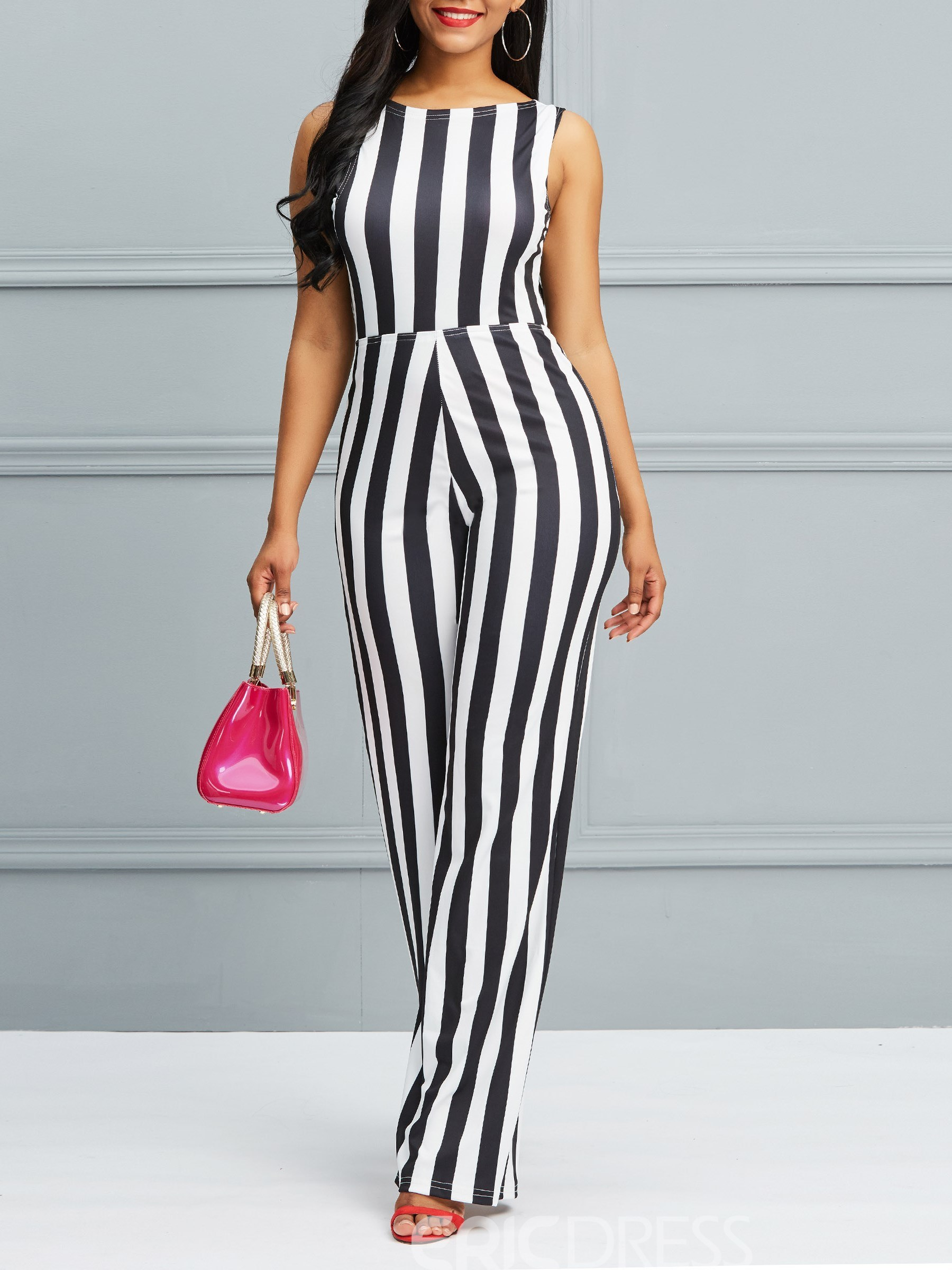 Ericdress Stripe Wide Legs Lace-Up Women's Jumpsuits