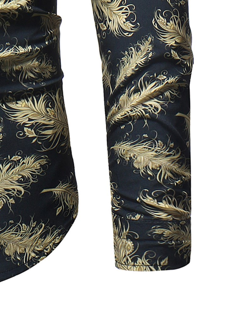 Ericdress Golden Feather Printed Button Up Mens Casual Ball Shirts