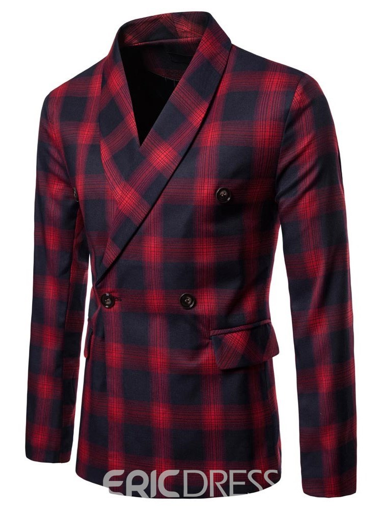 Ericdress Plaid Double-Breasted Button Mens Casual Blazer