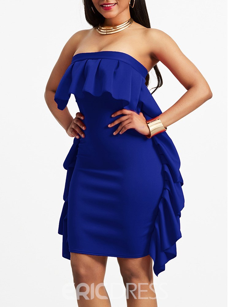 Ericdress Bodycon Ruffles Strapless Women's Dress