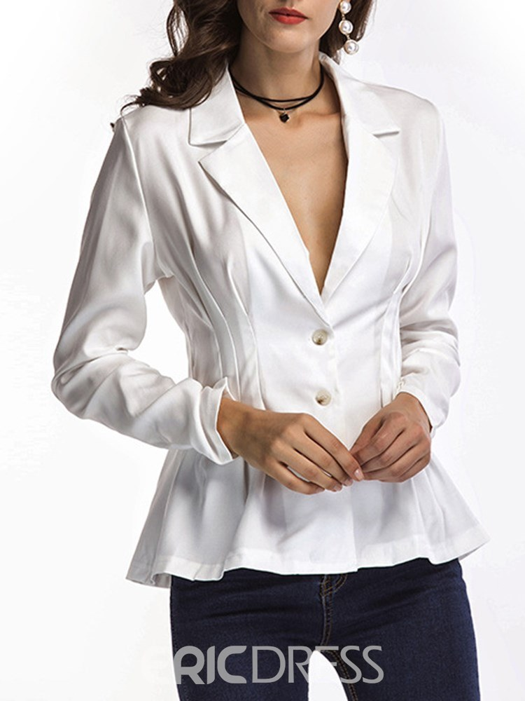 Ericdress Single-Breasted Notched Lapel Plain Blazer
