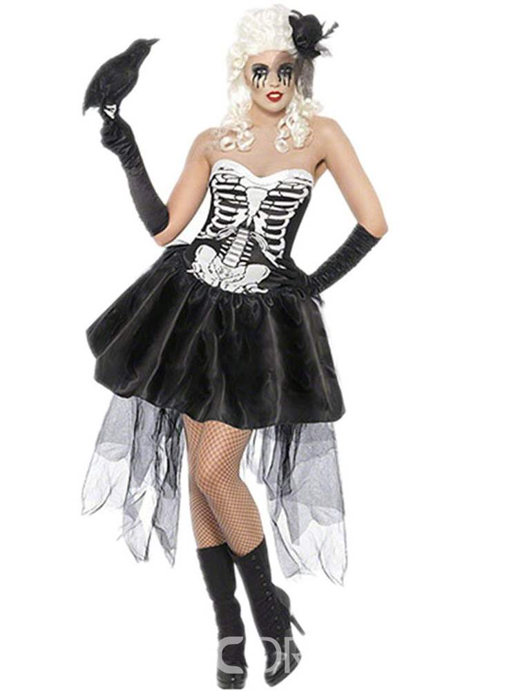 Ericdress Skull Asymmetric Scary Classic Halloween Costume