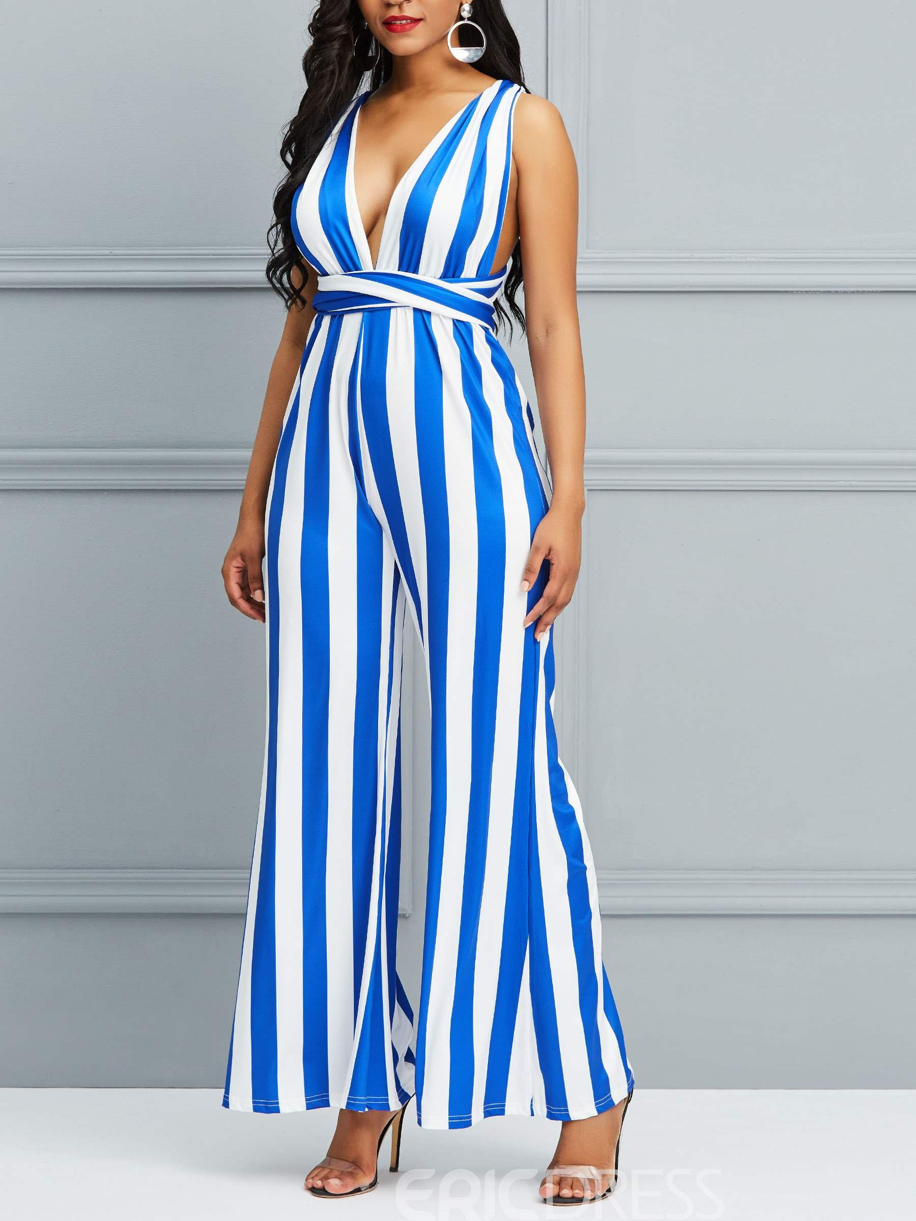 Ericdress Striped V-Neck Backless Jumpsuits