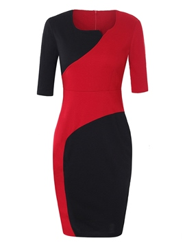Ericdress Bodycon Color Block Women's Dress