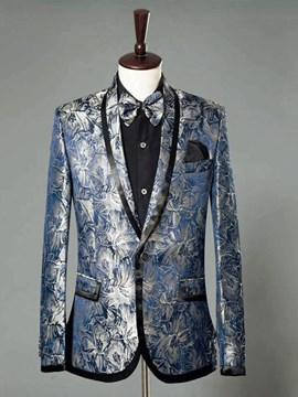 Ericdress Blue Floral Printed Slim Fitted Mens Ball Wedding Blazer