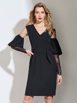 Ericdress Sheath Black Bodycon Homecoming Dress With Long Sleeve