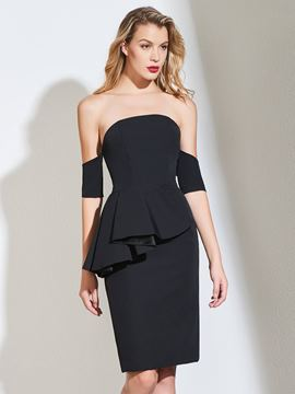 ericdress gaine de la robe de cocktail noire épaule